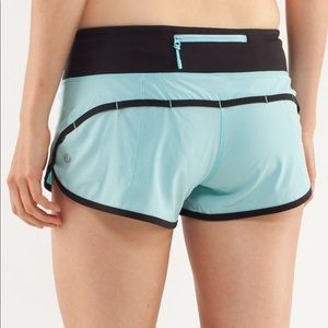 Lululemon Speed Shorts Size 4 Angel Blue Black